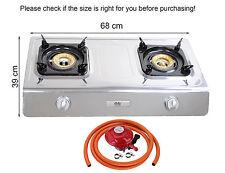 Gas Stove Cooker 2 Burners Portable Indoor Caravan LPG 7.2kW WOK Propan NSD2 NEW