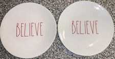 """RAE DUNN Holiday Christmas Santa Red LL BELIEVE 8"""" Plate SET LOT of 2"""