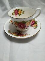 Staffordshire England Fine Bone China Royal Kendal Roses Tea Cup and Saucer GUC