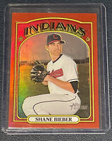 2021 Topps Heritage Shane Bieber Red Chrome Refractor SP #9/372 Indians