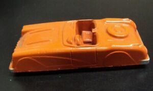 Vtg MIDGETOY Rockford ILL Metal Toy USA ~ Orange CONVERTIBLE CAR ~ 2 7/8 x 1 1/8