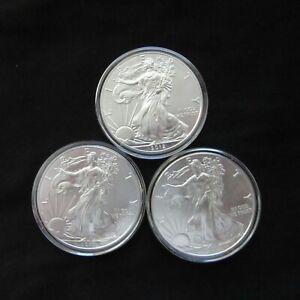Lot of three 2012 U.S. Silver Dollars Brillant, uncirculated in capsules