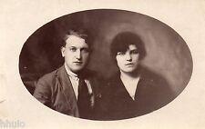 BK558 Carte Photo vintage card RPPC couple portrait mode fashion cadre ovale
