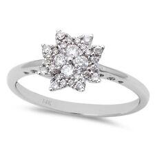 .25ct Round Snowflake Starburst Flower Diamond Cocktail Ring 14kt White gold 6.5