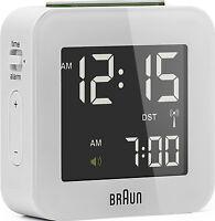 Réveil Quartz BRAUN Blanc - Radio-Piloté - Interface LCD - BNC008WH-RC