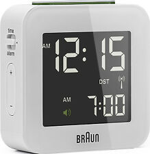 Réveil Quartz BRAUN Blanc - Radio-Piloté - Interface LCD - BNC008WH-RC