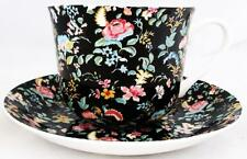 Black Petite Bombay Large Cup & Saucer Bone China Breakfast Set Decorated UK