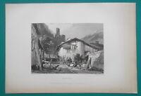 SWITZERLAND Batiaz Village & Castle Martigny - 1834 Antique Print Engraving