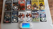 SONY PSP WHITE HANDHELD CONSOLE & 6 GAMES GOOD CONDITION