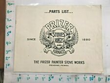 1940s Parts List Prizer Painter Stoves Ranges & Furnaces Reading PA Coal and Gas