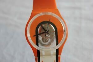 Used Swatch Orange Men's Watch - Plastic Case - Works well
