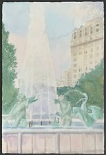 """Fountain Belden Strafford"" in Chicago - William Benecke - Original Watercolor"