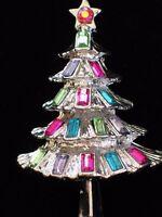 "SILVER AB TEAL PINK LAVENDER RHINESTONE CHRISTMAS TREE PIN BROOCH JEWELRY 1.75"""