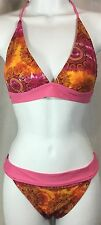 Bikini Swimwear 2 PC Pink Orange Set Junior's M 7/8 7 8 Bathing Swim Suit VTG