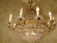 antik großer 15 Fl  Kronleuchter Lüster Messing  Bronze Gold Kristall ca.1930