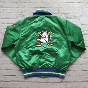 Vintage RARE 90s Anaheim Mighty Ducks Satin Jacket by Starter Size L