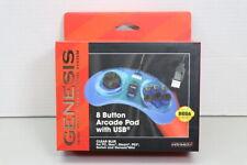 New Sega Genesis Retro-Bit 8 Button Arcade USB Clear Blue Controller (LOC 41C)