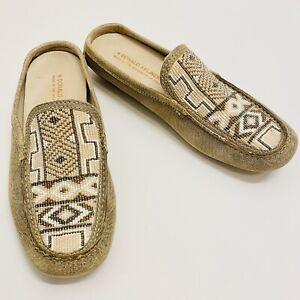 Donald J Pliner Women's 7 N Vevi Flats, Slip-On Shoes Beaded Aztec Design, Italy