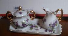Vintage Miniature Purple Violets  Sugar & Creamer Set with Tray