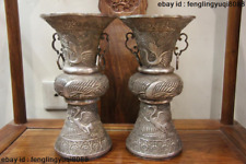 Chinese Folklore Handmade Engraved Pure Silver red-crowned crane Pot  Vase Pair