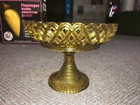 Antique EAPG Amber Basket Weave With Reticulated Rim Compote