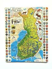 Vintage Finland (Suomi) Geographical Map Puzzle by Larsen - Shrink Wrapped!