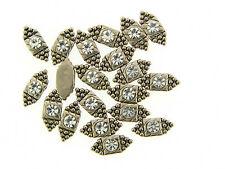 Vintage Silver Clear Swar Crystal Bali Textured 2 Hole Slider Bead Lot