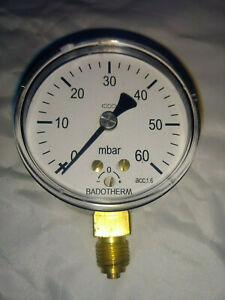Very Low Pressure Gauge air gas 60mbar 1 PSI 63mm bottom entry Badotherm 1/4 BSP