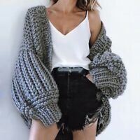 Women's Puff Sleeve Cardigan 100% Cotton Chunky Knit Loose Sweater 7 Colors New