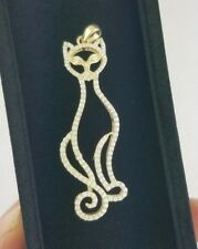 Diamond Pave Cat Pendant Fashion Charm for Necklace 10K Yellow Gold Openwork