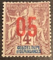 RARE 1891 GUADELOUPE STAMP 4 Cent  CLARET ON LAVENDER EARLY ISSUE NICE!