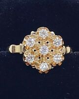 Antique 14 kt yellow gold ladies diamond cluster ring 6 3/4