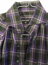 Bogosse Mens Striped Shirt Size 4 Flip Collar Exotic Triple Button Purple Large