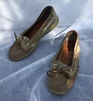 SPERRY Top Sider Women's Size 8 MGold Glitter Tan Leather Angelfish Boat Shoes