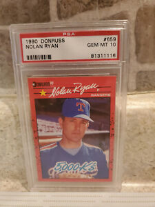 1990 DONRUSS NOLAN RYAN #659 (HOF) 5000K PSA 10 GEM MINT