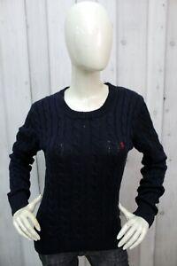 Maglione Ralph Lauren Donna Taglia XL Blu Cotone Maglia Sweater Pullover Woman