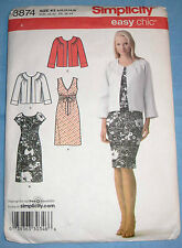 Simplicity Easy Chic Dress with Jacket Pattern 3874 Uncut Misses Sizes K5 8-16
