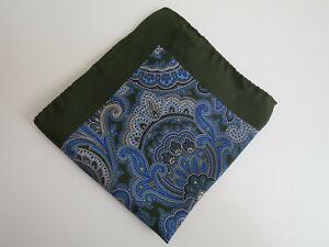 Einstecktuch, Seide Silk, Paisley-Muster, grün/blau, ca. 32x32 cm, TOP wie neu