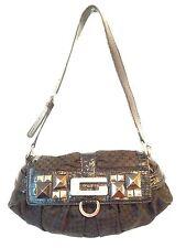VTG Guess Jacquard Signature G Print Studed Purse Shoulder Handbag Black Clutch