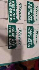 """4 Please Keep Off The Grass 6""""X9"""" Plastic Coroplast Signs w/ Stakes g/w"""