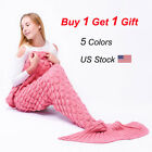 Mermaid Tail Sofa Throw Blanket Warm Soft Hand-Crocheted Blankets For Kids Adult