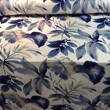 Indigo Floral  Super Soft Velvet Fibre Naturelle Curtain/Upholstery Fabric