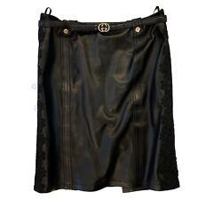 1800$ Gucci Black Leather Skirt GG logo Belt Size 44