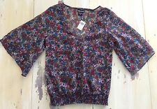 WET SEAL - NWT Womens Shear Tan, Blue, Red Peasant V-Neck Blouse, XS