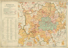 LONDON FIRE BRIGADE Districts & Stations. Vintage map. BACON 1934 old