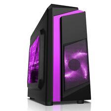 CiT F3 Midi Black Case Usb3 Front & Rear LED Fan Card Reader Purple Stripe