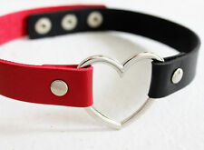 Harley Quinn Choker Red and Black 90s Heart Choker  Necklace Costume Halloween