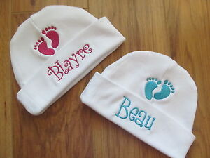 PERSONALIZED MONOGRAM CUSTOM Baby Beanie Infant Hospital Hat Cap Footprint Feet