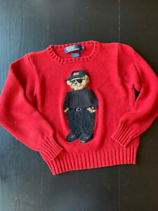 Vintage 90s Polo Ralph Lauren Knit Sweater Red Polo Bear Sunglasses KIDS Size 7