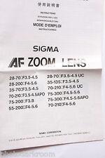 Sigma AF Zoom Lenses Instruction Manual Book - English Ja De Nl Fr - USED B71